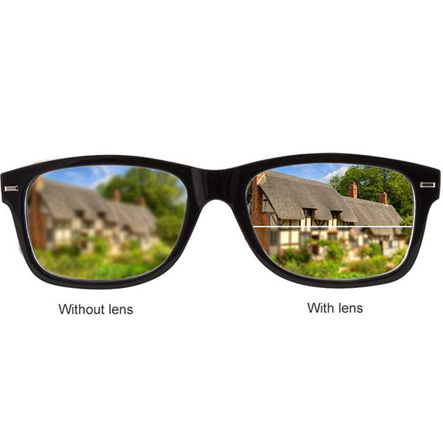 Glasses showing the difference with Bifocal lenses