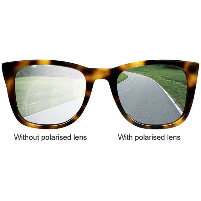 Sunglasses with one polarised lens
