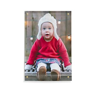Smiling baby on photo poster