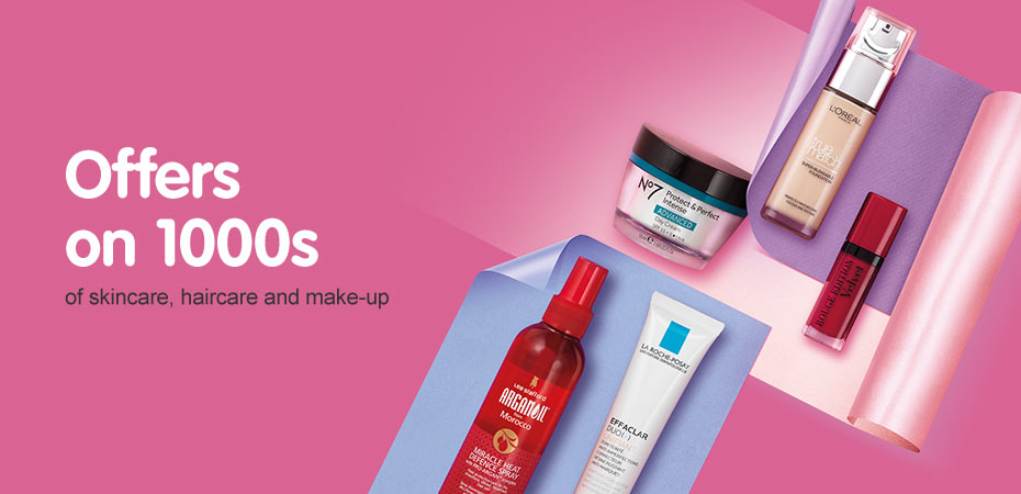 Offers on 1000s of skincare, haircare and makeup