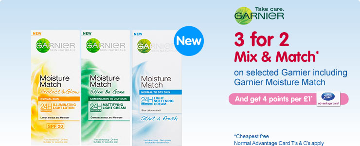 Three for two mix and match on selected skin care, including garnier moisture match. Click to find out more.