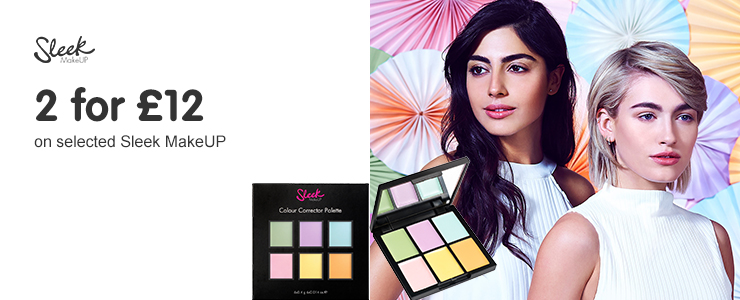 Two for twelve pounds on selected Sleek. Including new colour correcting palette