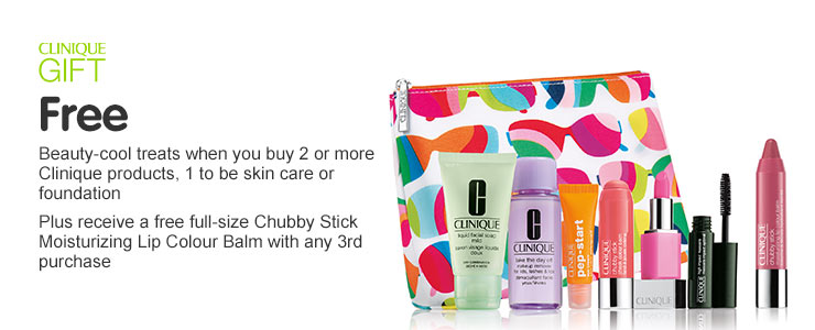 Receive your free Clinique with the purchase of two or more Clinique products, one to be skin care or foundation, plus receive a full size Chubby Stick Moisturizing Lip Colour Balm with any third purchase.