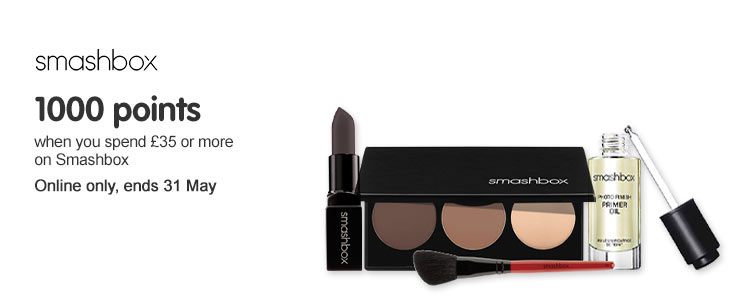 1000 points when you spend £35 or more on Smashbox