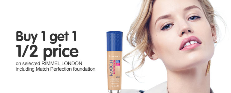 Buy one get one half price on selected Rimmel