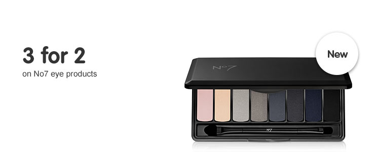 Three for two on selected number seven. Including new eye palettes