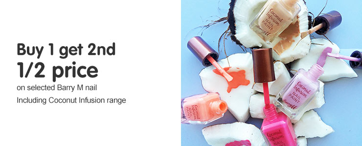 Buy one get a second half price on selected Barry M. Including new coconut range