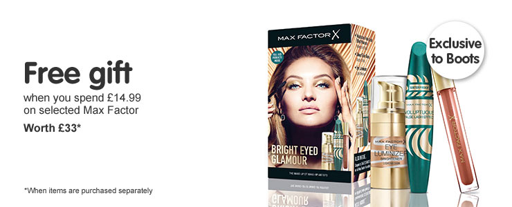 Free gift when you spend fourteen ninety nine on selected Max Factor