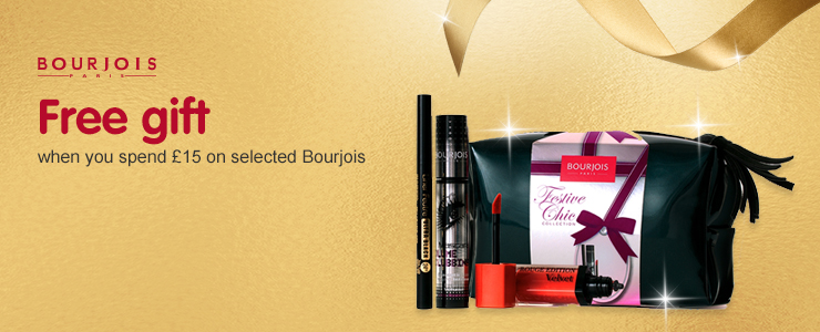 Receive a free gift when you spend fifteen pounds on selected Bourjois