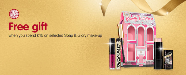 Free gift when you spend fifteen pounds on selected soap and glory makeup