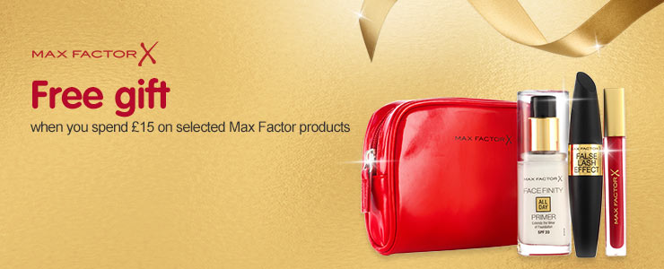 Free gift when you spend fifteen pounds or more on selcted Max Factor