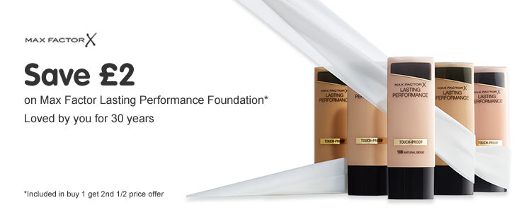 Save two pounds on selected Max Factor