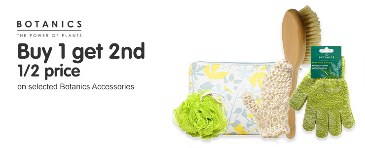 Buy one get 2nd half price on selected Botanics Accessories