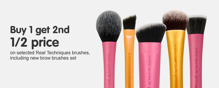 Buy one get the second half price on selected Real Techniques