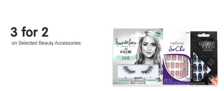 three for two on selected beauty accesories