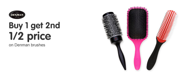 buy one get the second half price on denman brushes