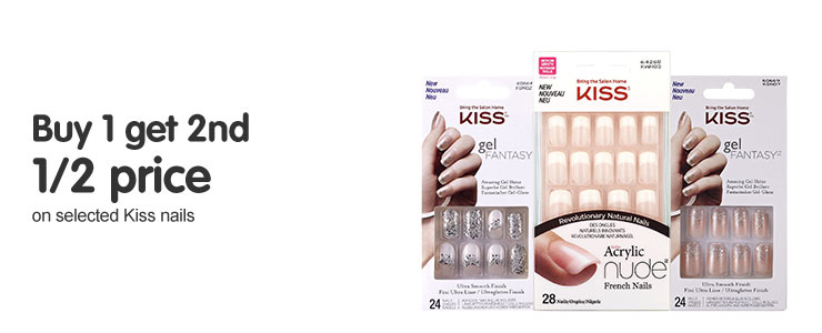 Buy one get a second half price on selected Kiss nails