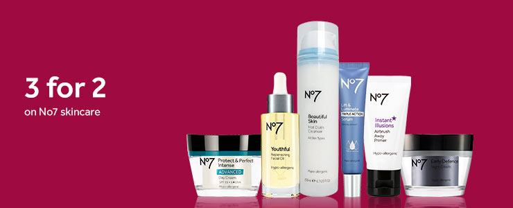 Three for two on selected number seven skincare