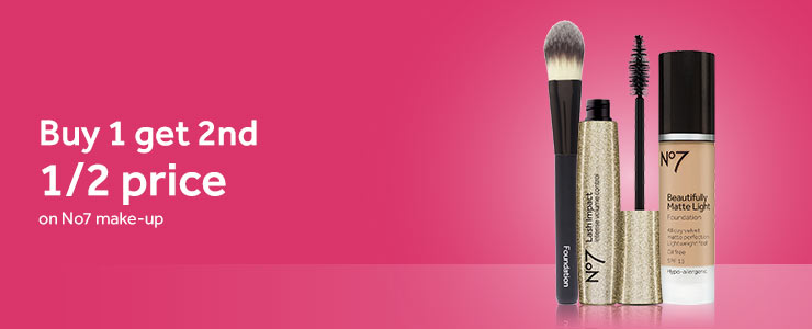 Buy one get second half price on selected no7 costmetics