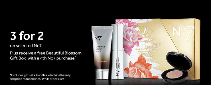 Three for Two on selected No7 and free Beauty Blossom Gift Box with a forth No7 purchase