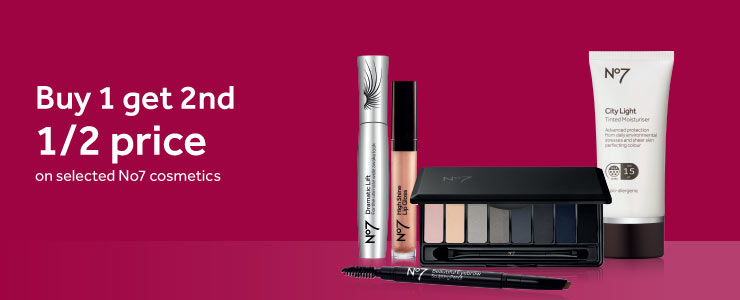 Buy one get second half price on number seven make up