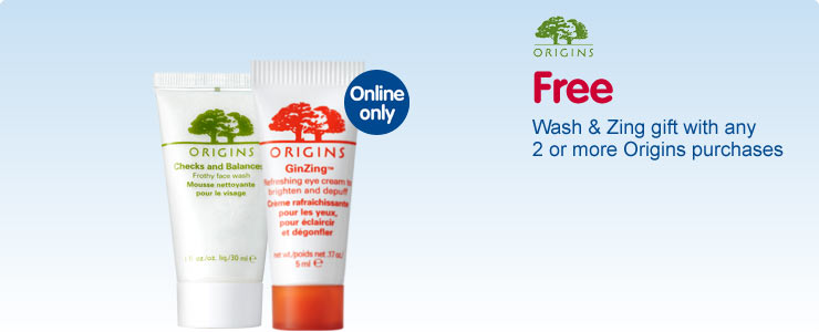 Free wash and zing gift with any 2 or more Origins purchases