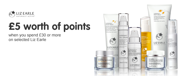 500 points when you spend £30 or more on Liz Earle
