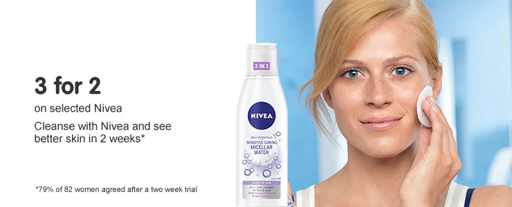Three for two on seleced Nivea, cleanse with nivea and see better skin in two weeks