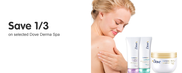 Save a third on selected Dove Derma Spa