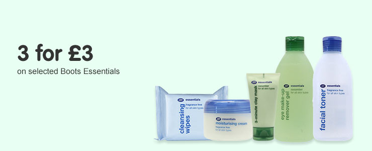 3 for 3 pounds on selected boots essentials