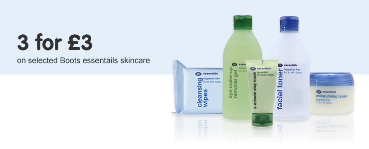 Three for three pounds on selected Boots Essentials Skincare