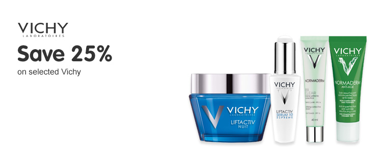 Save twenty five percent on selected Vichy