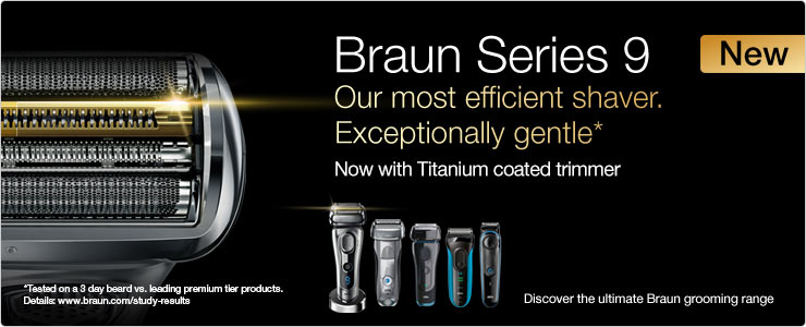 Braun series 3 close shave, perfect skin control.