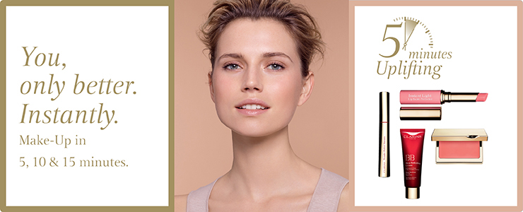 You, only better. Instantly. Get the Clarins 5, 10 or 15 minute look