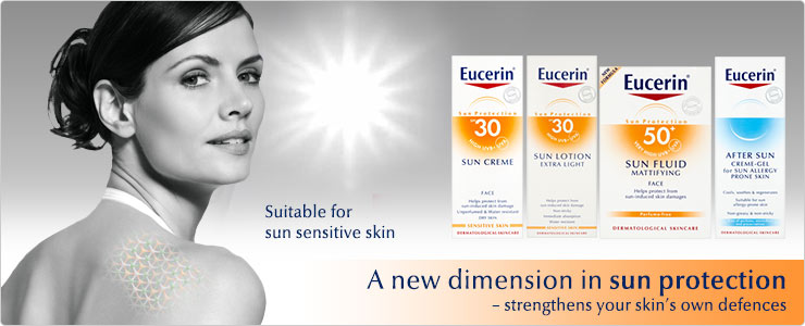 Eucerin sun protection range, suitable for sun sensitive skin