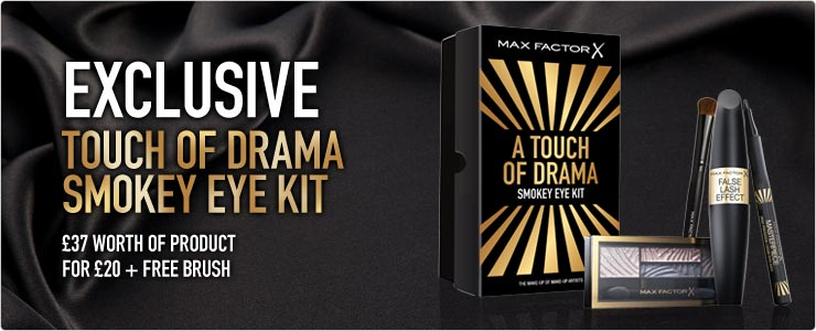 Max Factor Exclusive touch of drama smokey eye kit. Worth thirty seven pounds. Buy it now for just twenty.
