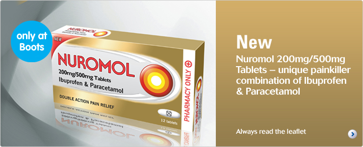Nuromol 200mg/500mg tablets - unique painkiller combination of Ibuprofen and Paracetamol. Always read the label