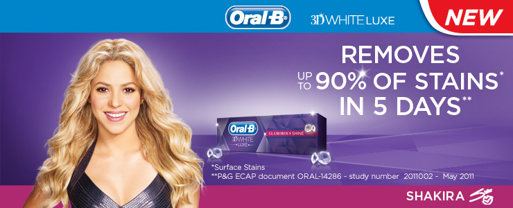 Oral-B 3D White Deluxe toothpaste, featuring Shakira