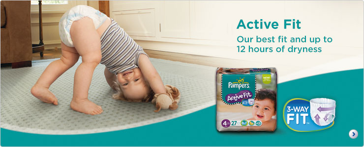 Pampers Active Fit our best fit and up to 12 hours of dryness
