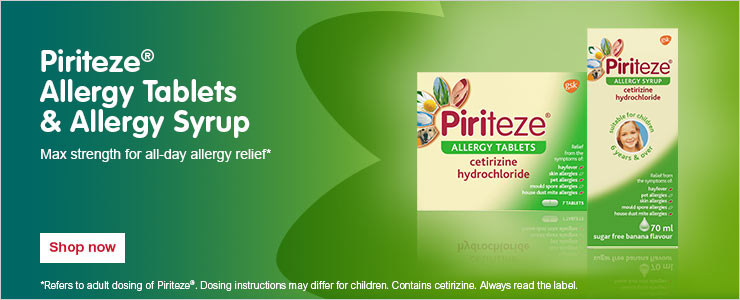 Piriteze allergy tablets and allergy syrup