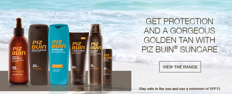 Get protection and a gorgeous golden tan with Piz Buin suncare