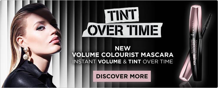 Buy now. Rimmel Colourist mascara. Tints lashes over time.