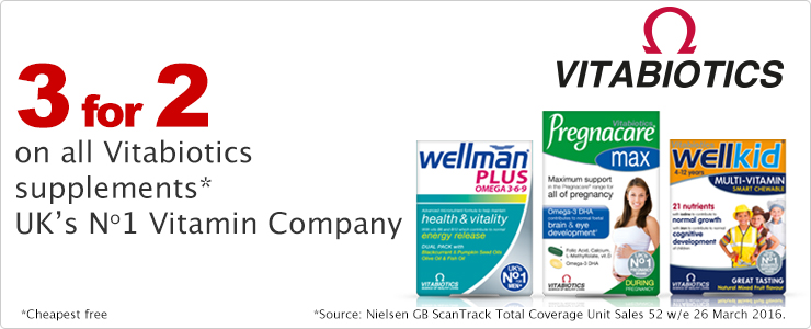3 for 2 on all Vitabiotics Supplements