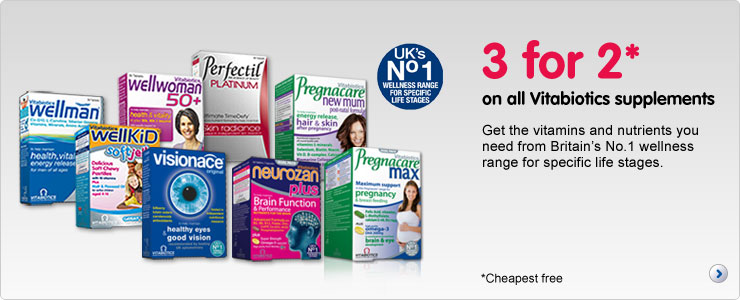 Three for two on all Vitabiotics supplements. Get the vitamins and nutrients you need from Britain's number 1 wellness range for specific life stages
