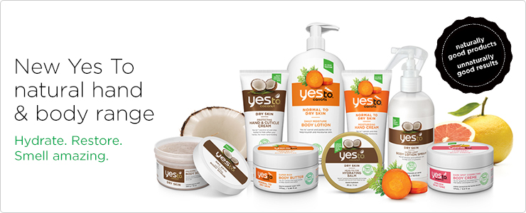 New Yes To natural hand and body range. Hydrate. Restore. Smell amazing.