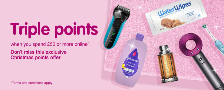 Triple points when you spend fifty pounds or more online