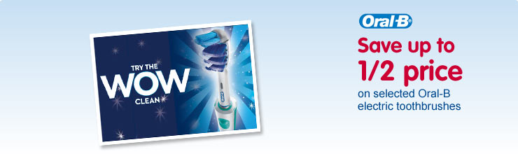 Save up to 1/2 price on selected Oral-B electric toothbrushes
