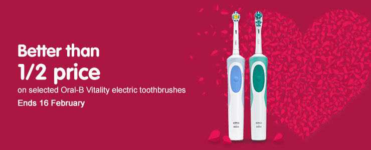 Better than half price on selected Oral B Vitality Electric Toothbrushes