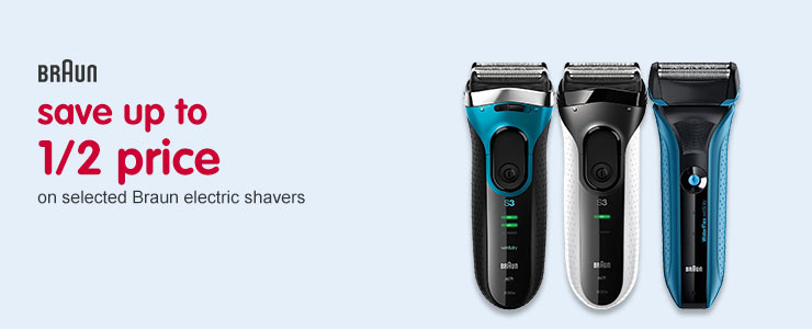 Save up to half price on selceted braun shavers