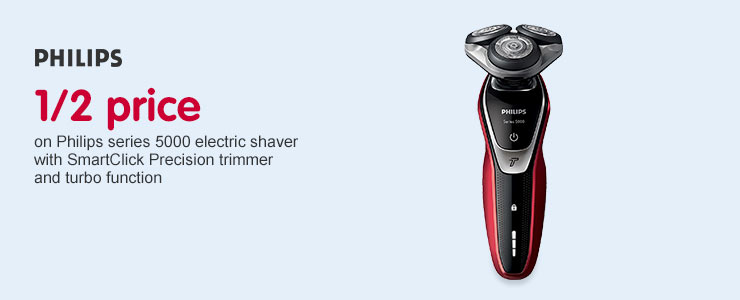 Half Price on Philips series 5000 electric shaver S5340/06 with SmartClick Precision trimmer and Turbo function